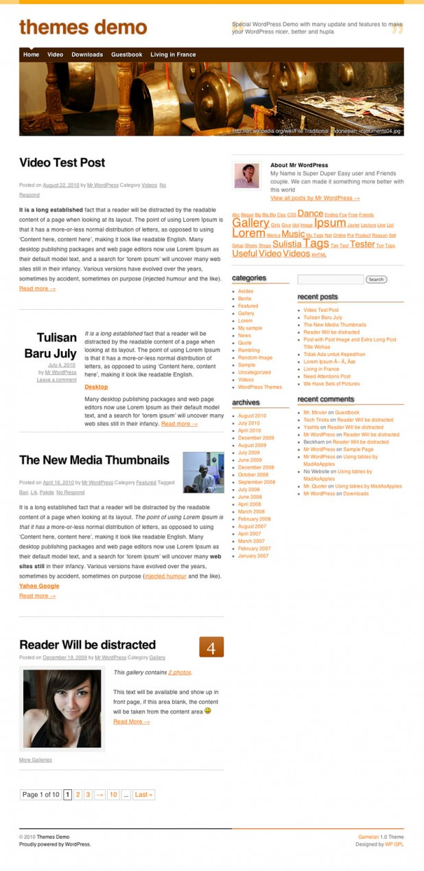 Screenshot Gamelan WordPress Theme